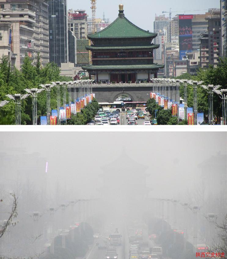 """雾霾中的""""钟楼,大雁塔""""_百年西安_触摸记忆西安雾霾中"""