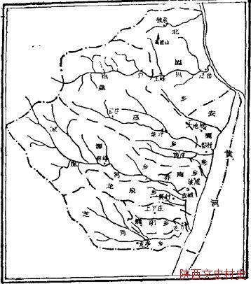民国时期韩城县行政区划图